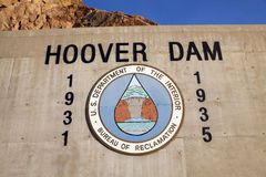 Hoover Dam Sign in Boulder City, NV on May 13, 2013 Stock Photo