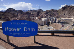 Hoover Dam  with Sign Royalty Free Stock Image