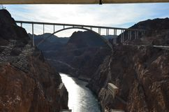 Hoover Dam, dam, water, bridge, sky. Hoover Dam is dam, sky and rock. That marvel has water, river and formation and that beauty contains bridge, mountain and royalty free stock photography