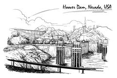 Hoover Dam stunning panoramic view. Black and white linear hand drawing. Sketch style. Stock Photos