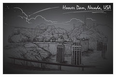 Hoover Dam stunning panoramic view. Black and white linear hand drawing. Sketch style. Stock Photo