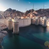 Hoover Dam before sunset stock images