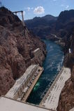 Hoover Dam. The top of Hoover dam looking down to rushing water Royalty Free Stock Photo
