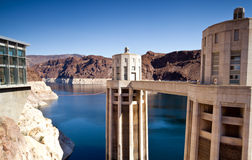 Hoover Dam Towers on Colorado River, Lake Mead Stock Images