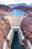 Hoover Dam. In United States. Famous hydroelectric power station on the border of Arizona and Nevada Stock Photo