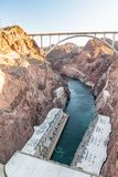 Hoover Dam in United States. Hydroelectric power station on Ariz. Ona - Nevada border stock image