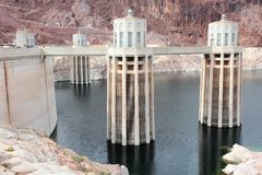 Hoover Dam reservoir. Hoover Dam in United States. Hydroelectric power station on the border of Arizona and Nevada. Low level water reservoir royalty free stock photography