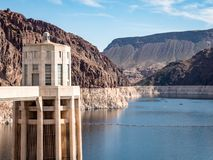 View of hoover dam las vegas nevada hydroelectric power plant. HOOVER DAM, USA - APRIL 15, 2019: View of hoover dam las vegas nevada, lake mead running into the stock photo