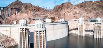 View of hoover dam las vegas nevada hydroelectric power plant. HOOVER DAM, USA - APRIL 15, 2019: View of hoover dam las vegas nevada, lake mead running into the royalty free stock photo