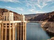 View of hoover dam las vegas nevada hydroelectric power plant. HOOVER DAM, USA - APRIL 15, 2019: View of hoover dam las vegas nevada, lake mead running into the stock images