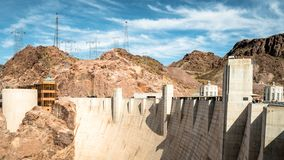 View of hoover dam las vegas nevada hydroelectric power plant. HOOVER DAM, USA - APRIL 15, 2019: View of hoover dam las vegas nevada, lake mead running into the royalty free stock images