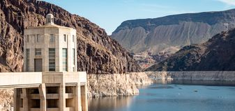 View of hoover dam las vegas nevada hydroelectric power plant. HOOVER DAM, USA - APRIL 15, 2019: View of hoover dam las vegas nevada, lake mead running into the stock photos