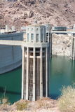 Hoover dam. View of the hoover dam in Nevada and Arizona. The hoover dam holds the water of the Colorado river Stock Photo