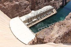 Hoover dam. View of the hoover dam in Nevada and Arizona. The hoover dam holds the water of the Colorado river Royalty Free Stock Photo