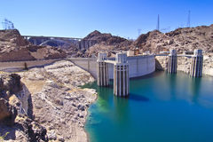 Hoover Dam and Water Intake Towers. Water intake towers at Hoover Dam, Nevada / Arizona border stock images
