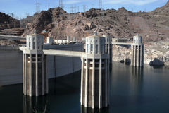 Hoover dam with water towers Royalty Free Stock Photos