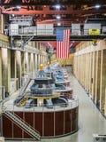 Hoover tamy elektrowni turbina z America flaga - Arizona, AZ zdjęcia stock