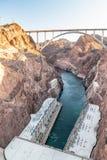 Hooverdam in Verenigde Staten Waterkrachtcentrale op Ariz stock afbeelding