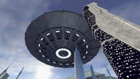 hoovering在科学幻想小说城市4K上的引起轰动的飞碟 向量例证