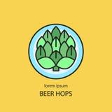 Hop cones craft beer. Logo. Label, emblem or badge template. Vector illustration Stock Images