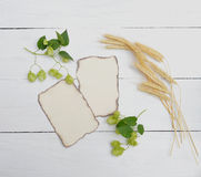 Hop cones and leaves, spikelets on wooden background. Top view. Royalty Free Stock Photo