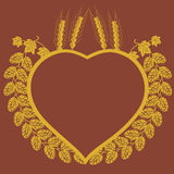 Hop and corn heart design Stock Photo