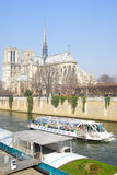 Hop on hop off boat in Paris Royalty Free Stock Photos