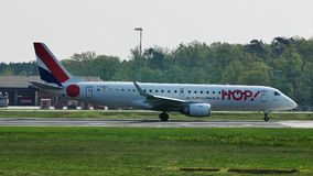 HOP! Embraer taxiing in Frankfurt Airport, FRA. HOP! jet doing taxi in Frankfurt Airport, FRA Germany stock video footage