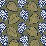 Hop leaves pattern Royalty Free Stock Images