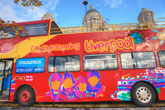 Hop on and off bus in Liverpool, UK. Royalty Free Stock Photo
