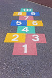 Hop scotch fun. Hopscotch pattern marked out on the floor of play ground Royalty Free Stock Photos