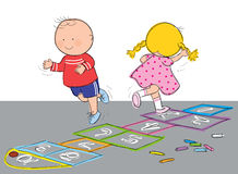 Hopscotch. Hand drawn picture of children playing hopscotch, illustrated in a loose style. Vector eps available Royalty Free Stock Images