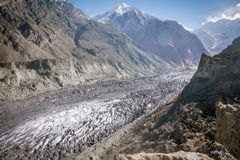 Hopar glacier or Hopper glacier is covered with rubble, boulders and mud, Nagar Valley. Gilgit Baltistan, Pakistan.  stock photo