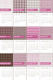 Hopbush and saddle colored geometric patterns calendar 2016 Stock Photo