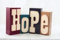 Hope. Blocks spelling the word Hope from girls room.  Very calming and sincere Royalty Free Stock Image