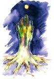 Hope. Human hand like tree aiming to the sun/moon royalty free illustration