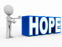 Hope. Word in blue, presented by a little 3d man on white background, concept of  and optimism Royalty Free Stock Photography