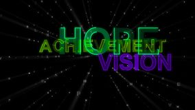 Hope, Achievement, Vision as Concept Words. An exciting 3d illustration of such concept words as hope, achievement and vision. They are green, salad and violet Royalty Free Stock Photo