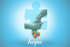 Hope against blue background with vignette Stock Photos