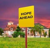 Hope ahead concept. A raod signage in a Posh village in suburban Manila Italian modern house design stock image