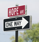 Hope Avenue. Interesting traffic sign reading Hope Avenue and One Way Royalty Free Stock Photos