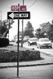 Hope Avenue. Traffic Sign reading Hope Avenue and another one reading One Way Royalty Free Stock Photo