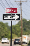 Hope Avenue. Traffic Sign reading Hope Avenue and One Way Stock Image