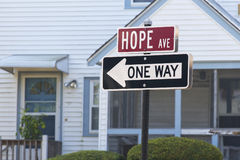 Hope Avenue. Traffic sign reading Hope Avenue and One Way Royalty Free Stock Photography