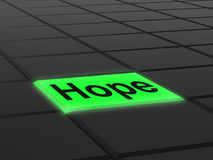 Hope Button Shows Hoping Hopeful Wishing Stock Photography