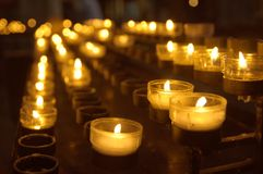 Hope. Candles in catholic cathedral Royalty Free Stock Images