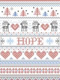 Hope Christmas vector pattern with Scandinavian Nordic festive winter pattern in cross stitch with heart, snowflake, trees