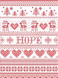 Hope Christmas vector pattern with Scandinavian Nordic festive winter pattern in cross stitch with heart, snowflake, xmas tree
