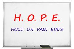 Hope concept with black marker on transparent wipe board. Hold On, Pain Ends. Stock Photos