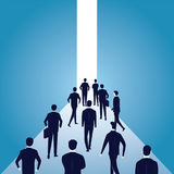 Hope Concept. Business People Walks Forward To Bright Light Royalty Free Stock Images
